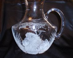 Etched+Glass+Pitcher+African+Lion+Lioness+Hand+by+karenskarvings,+$68.00