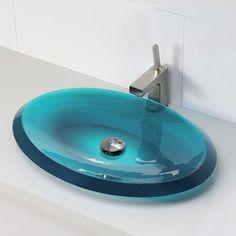 DECOLAV Incandescence Oval Vessel Bathroom Sink Sink Finish: Lagoon