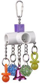 PVC cross, some chain, o-rings, and plastics.
