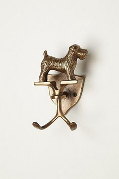 Scottish Terrier Hook  #anthropologie  $28 - very cute, but it's not a Scottish terrier - not with those floppy ears