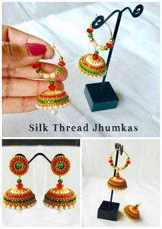 Silk Thread Jumkas, Silk Thread Earrings, Thread Art, Silk Thread Bangles, Thread Jewellery, Jewellery Designs, Beaded Necklace Patterns, Crochet Earrings, Quilling Jewelry