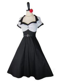 The Lulu~Retro 1950s Style White Polka Dot Sailor Pinup Dress :)