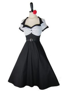 The Lulu~Retro 1950s Style White Polka Dot Sailor Pinup Dress :)