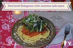 Red lentil Bolognese with mesclun side salad Lentil Bolognese, Bastilla, Pasta, Side Salad, Lentils, Vegetarian Recipes, Spaghetti, Meals, Dishes