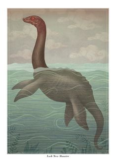 """Loch Ness Monster -  A4 art print--The creature was done with watercolors and colored pencils then digitally processed. The print measures 29.7 x 21 cm (11.7"""" X 8.3"""") with a white border, it is printed on a quality 240g matte acid-free art paper, and is signed and dated by hand."""