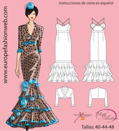 Simple strappy Flamenco dress, but the Torera gives it more possibilities Clothing Patterns, Dress Patterns, Sewing Patterns, Lace Dress Styles, Nice Dresses, Dance Outfits, Girl Outfits, Salsa Dress, Gown Pattern