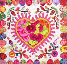 Center of the Hearts and Flowers Quilt, fabric by Kaffe Fassett.  The pattern is by Kim McLean