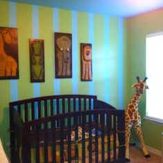 Bradens new room! Pin stripe painted wall/little boys room toddlers room