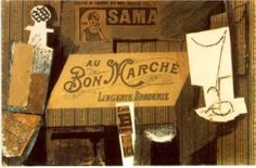 Au Bon Marche', 1913  Collage and Oil on Cardboard  Style: Synthetic Cubism  Period: Cubist Period