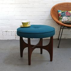 Winter's Moon — Vintage G Plan Footstool in Teal Wool