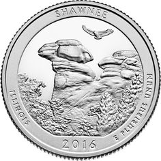 2016 - 5 oz. Silver, Shawnee National Forest, Illinois - America the Beautiful Bullion Coin - reverse side  |    Description: displays a view of Camel Rock with natural foliage in the foreground and a red-tailed hawk soaring in the sky.