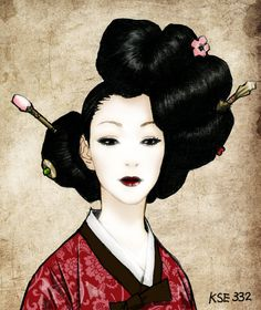 Beautiful artwork of a woman in a hanbok with traditional Korean hair. Image work 2 by kse332