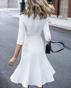 fashion blogger ivory classic midi dress