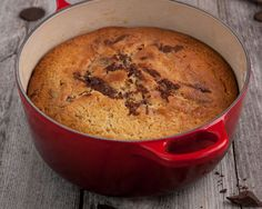 Cake baked in a casserole dish! Double Chocolate Marbled Pound Cake baked in the Le Creuset Cast Iron Round Casserole Dutch Oven Cooking, Dutch Oven Recipes, Cast Iron Cooking, Pan Cooking, Cooking Recipes, Marble Pound Cakes, Healthy French Toast, Le Creuset, Pinterest Recipes