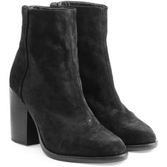 Rag & Bone Ashby Suede Ankle Boots (615 AUD) ❤ liked on Polyvore featuring shoes, boots, ankle booties, black, black bootie, black booties, short suede boots, suede booties and short black boots