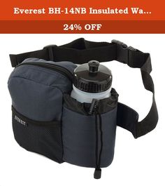 """Everest BH-14NB Insulated Water Bottle Waist Hip Fanny Pack Bag Navy + Bottle. The Everest BH-14NB hydration fanny pack features 600D polyester material with an insulated and padded water bottle holder with an adjustable locking drawstring closure that provides maximum stability for your bottle. The holder fits up to 3"""" Diameter bottles. The adjustable waist strap with quick release buckle easily adjusts up to a 42"""" waist and provides the perfect fit allowing hands-free activity. The..."""