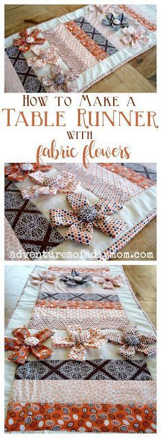 Learn to make a table runner with this easy to follow tutorial. The runner is made of strips of fabric. I added some dimensional interest with the fabric flowers. Change up the colors and it will work for any season. #howtomakeatablerunner #diytablerunner #tablerunnerideas #easytablerunner