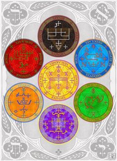 """The Seven Archangel sigils come from the ancient book """"The Grimoire of Armadel"""" which contains sigils and invocations used to call forth the power of the Archangels. Seven Archangels, Aleister Crowley, Ancient Symbols, Ancient Book, Occult Symbols, Guardian Angels, Angels And Demons, Angel Art, Book Of Shadows"""