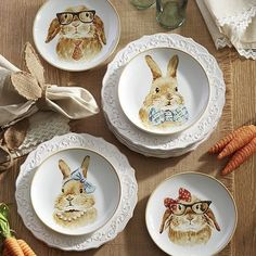 Easter Bunny Salad Plate Set. I think these are adorable - especially the ones wearing glasses. But, I have plenty of Easter dishes and no spare storage space.