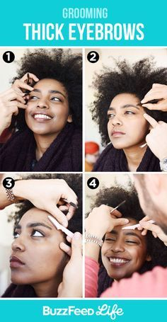 And for thick eyebrows, focus on grooming hairs around your natural brow. | How To Fill In, Shape, Tweeze, Trim, And Transform Your Eyebrows