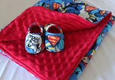 Superman Minky Blanket and matching baby booties-Ready to ship