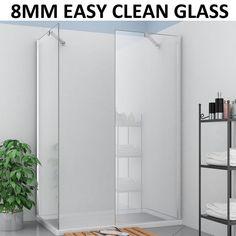 Easy clean glass Walk in shower enclosure wet room screen panel door stone tray