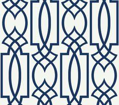 Wallpaper Designer Large Navy Blue Imperial Trellis Lattice on White #Unbranded