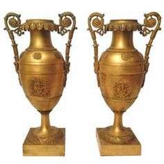 19th Century French Pair of Bronze Gold Vases Charles X Period