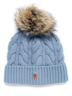 Moncler Grenoble Cable-Knit Beanie | The Cable-Knit Beanie from Grenoble is a must-have for staying fashionable and warm this winter! This beanie is designed with premium warmth, comfort and style. This Grenoble hat features a real fur pompom, knit design and versatility.