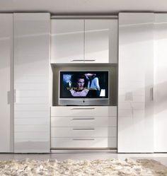 Super Bedroom Wardrobe With Tv Tv Armoire Ideas Built In Bedroom Cabinets, Bedroom Built Ins, Tv In Bedroom, Master Bedroom Closet, Bedroom Decor, Bedroom Cupboard Designs, Wardrobe Design Bedroom, Wardrobe Tv, Fitted Bedroom Furniture