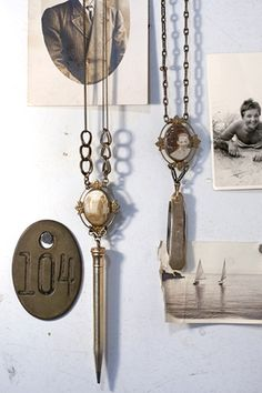 Cameos w/ pencil and pocket knife fob pendants by Mariele Ivy Heirloom Necklaces