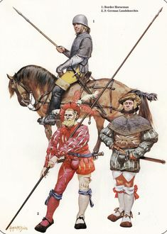 English Border Horse and German Landsknechts, Early 16th Century