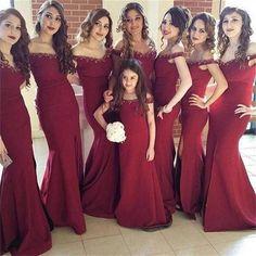 Maroon Off Shoulder Long Mermaid Side Slit Beaded Bridesmaid Dresses, PD0240