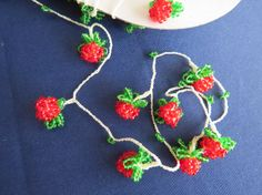 Vintage Strawberry form beaded oyas by ColorsofRengin on Etsy
