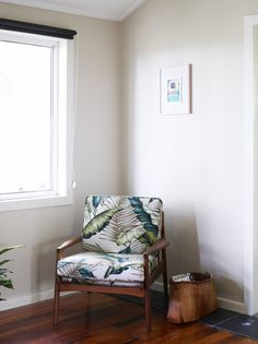 The Coolangatta Home of designer Leah Bartholomew.  Fleur chair from Found Furniture, locally made Bangalow palm basket, Artwork by Leah Bartholomew.    Photo - Toby Scott, production – Lucy Feagins / The Design Files.