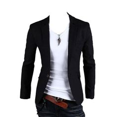 Mens One Button Casual Slim Fit Stylish Suit Blazer Jackets - Smart Pinner Cheap Mens Blazers, Blazers For Men, Casual Blazer, Men Casual, Casual Wear, Mens Fashion Suits, Fashion Outfits, Men's Fashion, Jackets Fashion