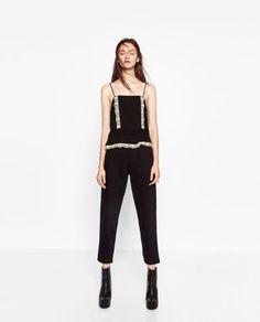 ZARA-Black-Camisole-Nude-Lace-Pleats-Frills-Straps-Back-Button-Top
