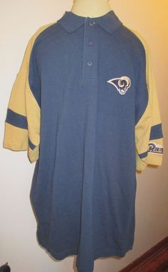 "NFL Shop St. Louis Rams Men""s Polo Shirt Navy & Gold Size XL NWT short sleeved #StLouisRams"