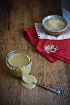 Tahini    1 cup sesame seeds  6 Tbsp Olive Oil (give or take)  1/4 tsp sea salt  1/4 lemon (optional)   In a large pan over medium heat, add the sesame seeds and toast for 2 minutes. Remove just as they start to brown and allow to cool.