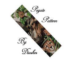 Wild Animals Peyote Beading Pattern, Seed Bead Bracelet Pattern, Flat Peyote Bracelet, Wide Cuff, Bead Graph, Even Count Peyote