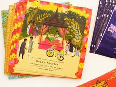 indian wedding invitation, thailand wedding illustrated by Laura Shema for Jolly. - indian wedding invitation, thailand wedding illustrated by Laura Shema for Jolly Edition - wedding illustration Indian Wedding Invitation Cards, Wedding Invitation Card Design, Indian Wedding Cards, Indian Wedding Invitations, Wedding Card Design, Wedding Stationary, Invitation Ideas, Indian Weddings, Real Weddings