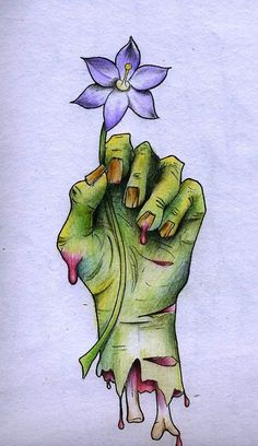 zombie hand with flower