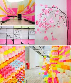 post its - collaborative and cumulative art project for whole school???