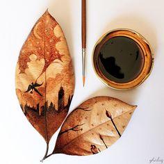 Coffee stained leaf paintings by Ghidag