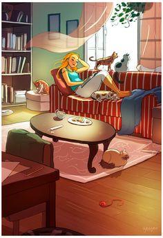 Yaoyao Ma Van As - Perfectly sane cat lady Alone Art, Photo Images, Cute Illustration, Digital Illustration, Anime Art Girl, Belle Photo, Cat Art, Cartoon Art, Amazing Art