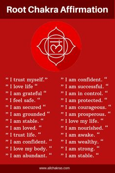 50 Powerful Root Chakra Affirmations to Fast Healing & Chakra affirmationsYou can find Chakra meditation and more on our Powerf. Chakra Heilung, Chakra Raiz, Chakra Mantra, Muladhara Chakra, Crown Chakra, Atem Meditation, Healing Meditation, Yoga Meditation, Root Chakra Meditation
