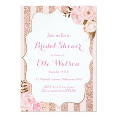 Shop Rose Gold Bridal Shower Invitation created by mymess. Personalize it with photos & text or purchase as is! Gold Bridal Showers, Tea Party Bridal Shower, Shower Party, Shower Gifts, Lingerie Rosa, Wedding Shower Invitations, Modern Invitations, Invitation Ideas, Invitation Templates