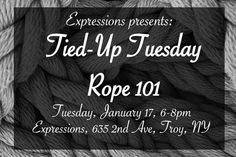 "Join us next week for 'Tied Up Tuesday: Rope 101' a FREE workshop! Rope is one of the longest standing forms of bondage and allows for some of the most creativity. This class is a focus on rope bondage (also known as ""shibari"") and includes rope safety different kinds of rope what to include in your kit. Those who attend will learn single and two column ties arm binding cuffs and more as well as basic helpful knots to know. We will also discuss reputable companies to purchase further…"