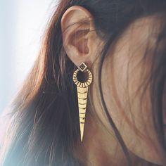 Cassia earrings #sanktoleono #jewellery #longearrings #statementearrings #tribalearrings #egypt #geometricearrings #goldearrings #tribaljewellery #boho #bohemian #bohemianjewellery #handmade #etsy #fashion #fashionaccesories #gypset #gypsy #hippie