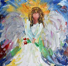 Original oil painting 6x6 Angel Portrait Palette by Karensfineart